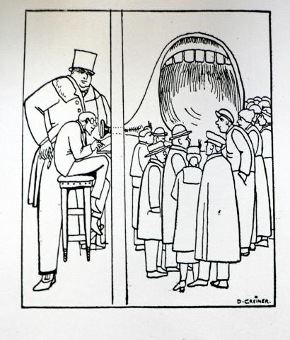 Conrad Noack (zweiter von rechts) beim Goutieren der vom Kapital gesteuerten öffentlichen Meinung in einem Holzschnitt von Daniel Greiner
