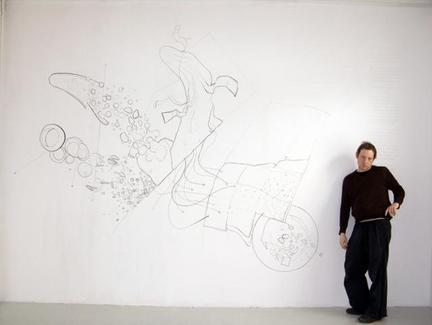 Stefan Roigk up 9 new borders, 2008, ink on wall